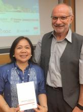 IATUL Conference 2017 Bolzano - Irmgard Lankenau Poster Prize Winner - Sharon Maria Esposo-Betan with Reiner Kallenborn (IATUL President)