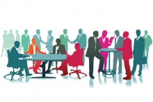 Host an event, people around tables