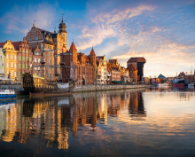 Gdansk Motława river, old buildings, crane gate, sight